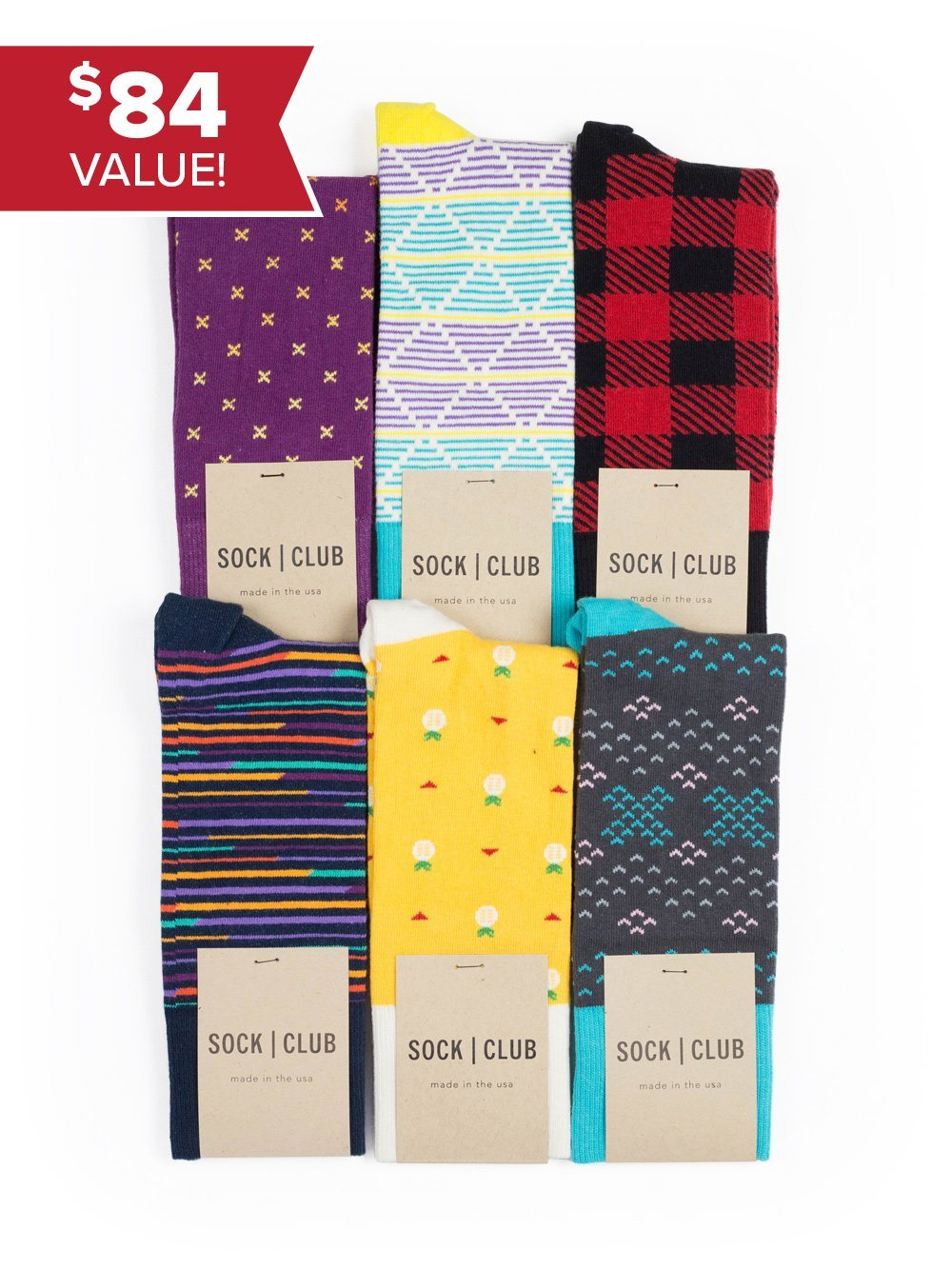 Sock Club Mystery Pack (6 Pairs) - Sock Club Store