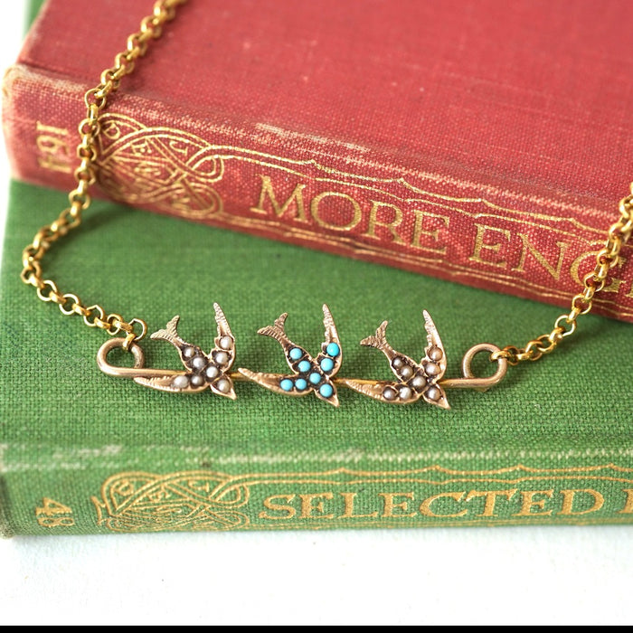 Swallows on a Gold Bar Necklace