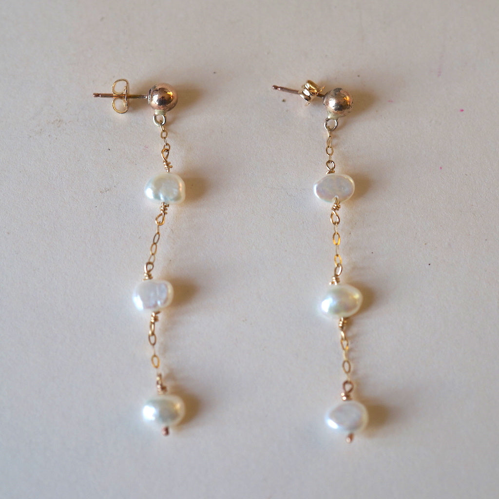 Gold and 3 Freshwater Pearl Drop Earrings