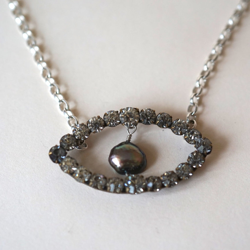 Diamante and Grey Pearl 3rd Eye Silver Necklace