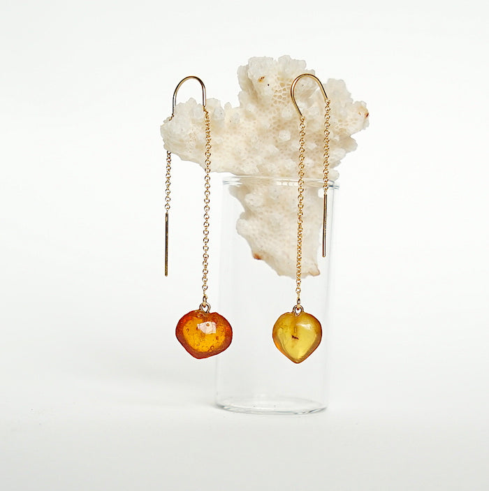 Victorian Amber Heart and Gold Threader Earrings