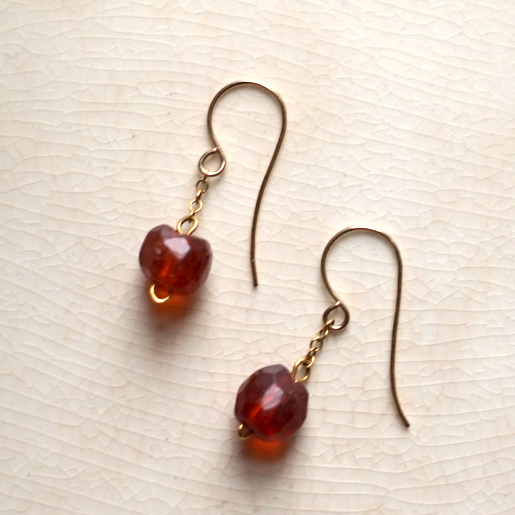Pure Gold & Amber Bead drop earrings, handmade in UK