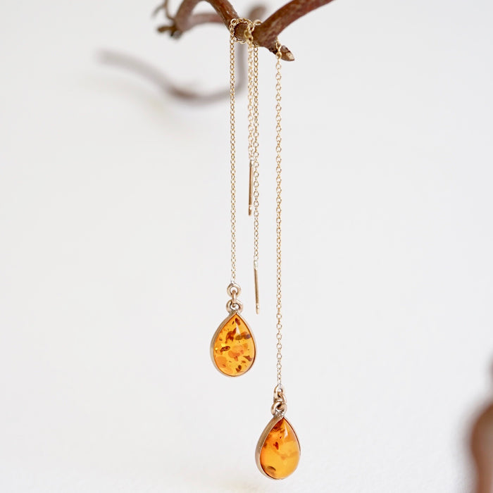 Amber Teardrop and Gold Threader Earrings