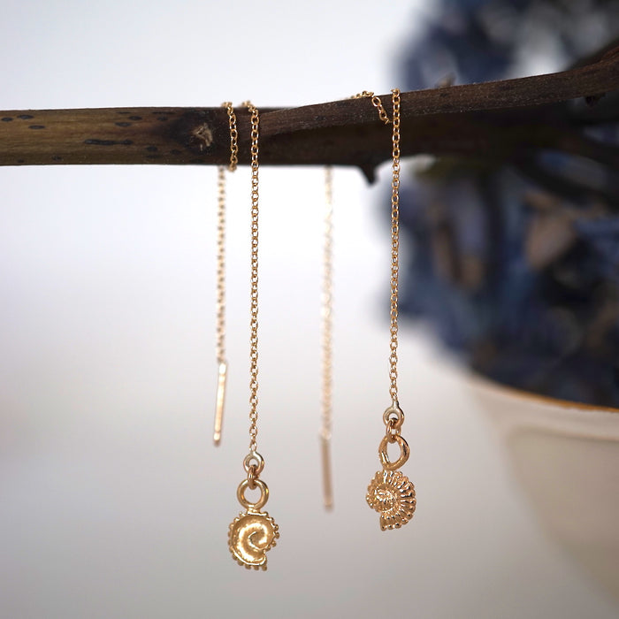 Ammonite Shell Gold Threader Earrings. Badger's Velvet