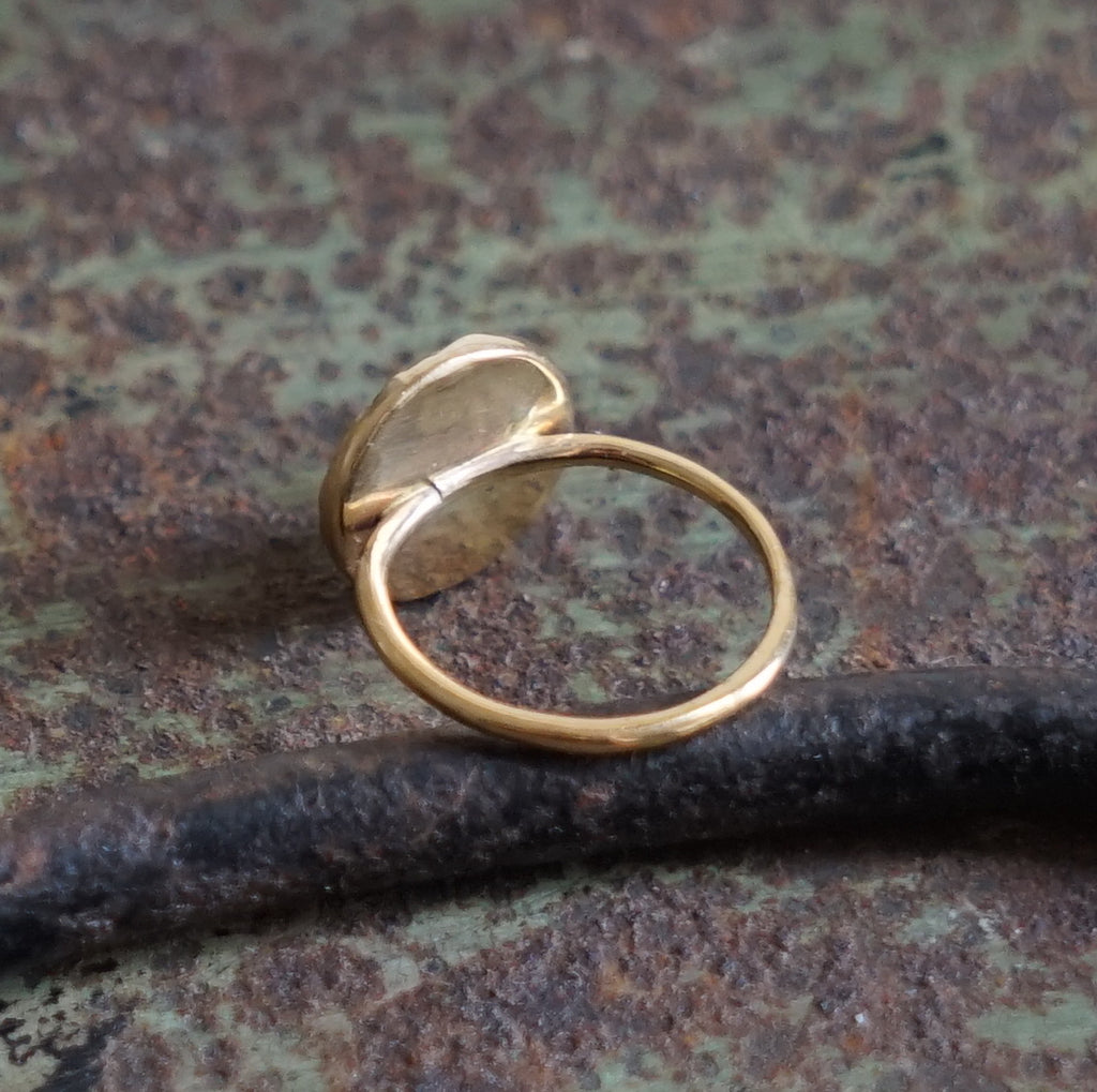 9ct Gold Ring with Medieval Bronze Inset.