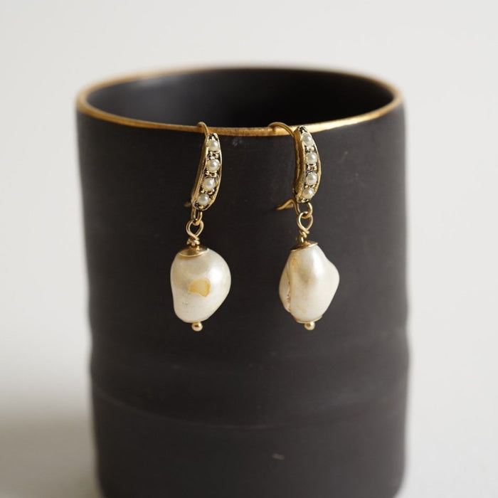Baroque Pearl & Seed Pearl Earrings