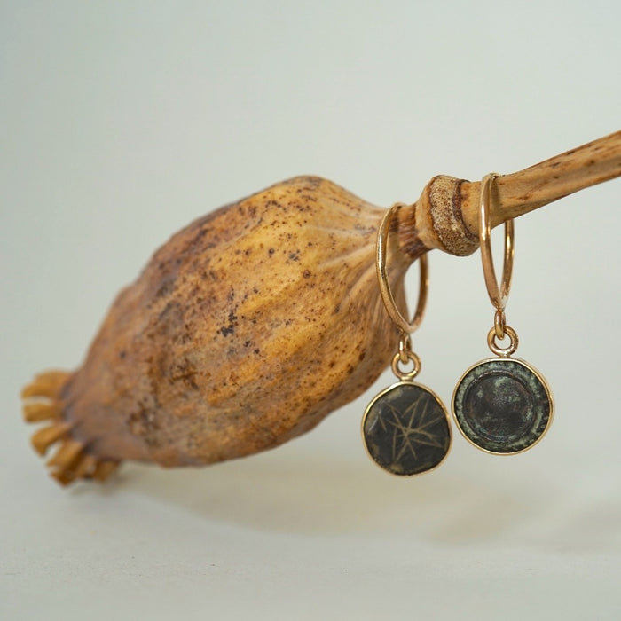Gold and 18thC Bronze Button Hoop Earrings. Badger's Velvet