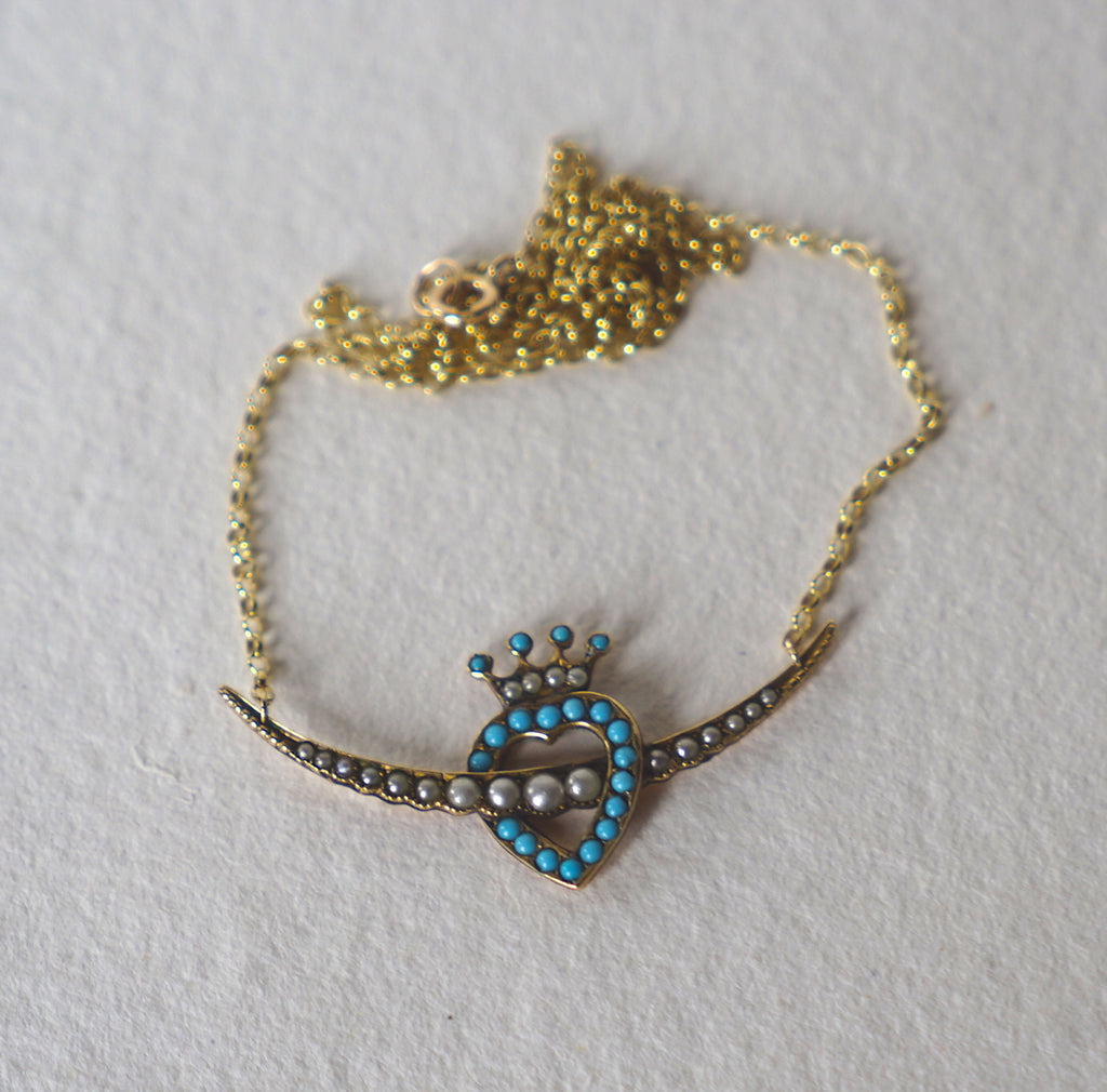 Antique 9ct gold Seed Pearl and Turquoise Love Heart Necklace
