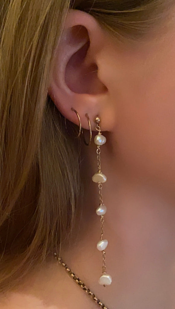 Long Gold and Freshwater Pearl Drop Earrings