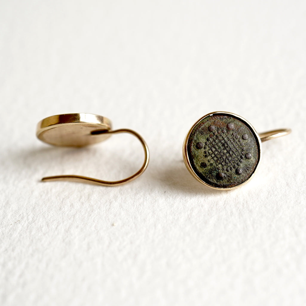 Gold and 18thC Bronze Button Hook Earrings