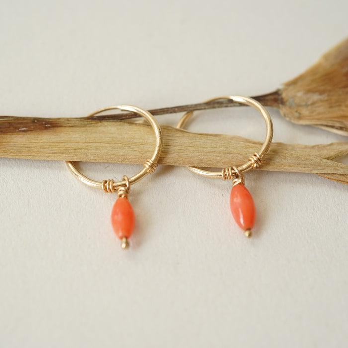 Oval Coral Bead and Gold Hoop Earrings