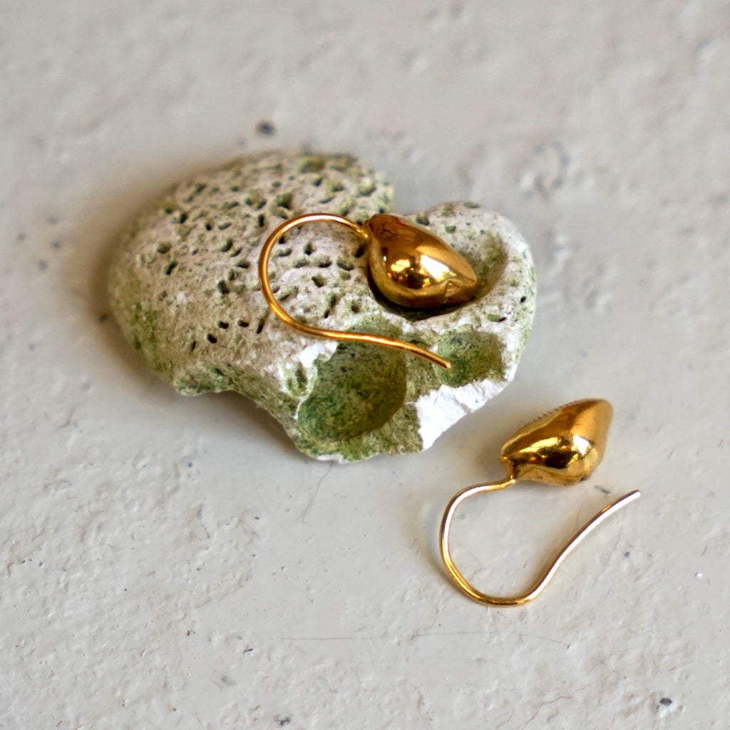 Gold cowrie shell earrings, 22ct gold on silver, handmade shell earrings.