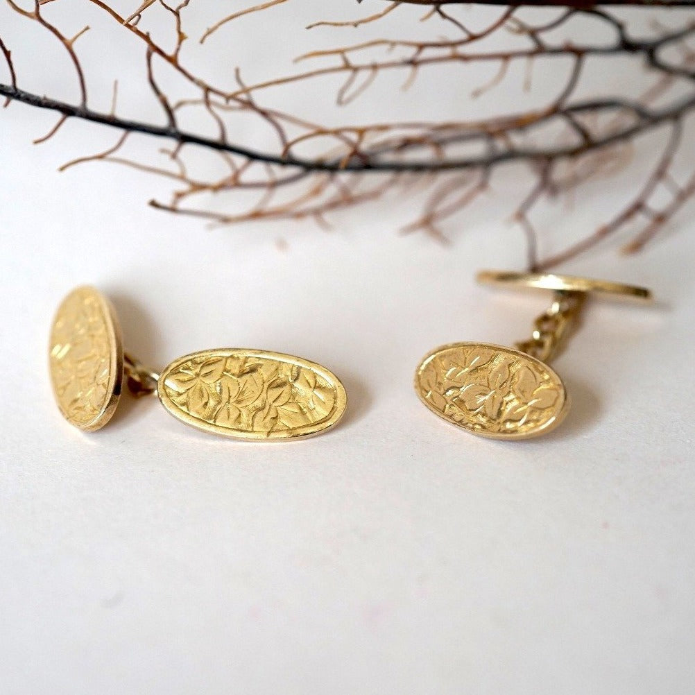 Gold Victorian Cufflinks. Badger's Velvet