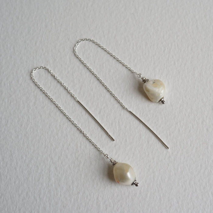 Baroque Pearl & Silver Threader Earrings
