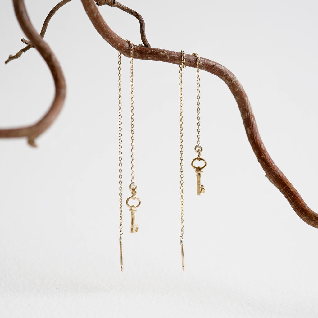 Gold Key Threader Earrings