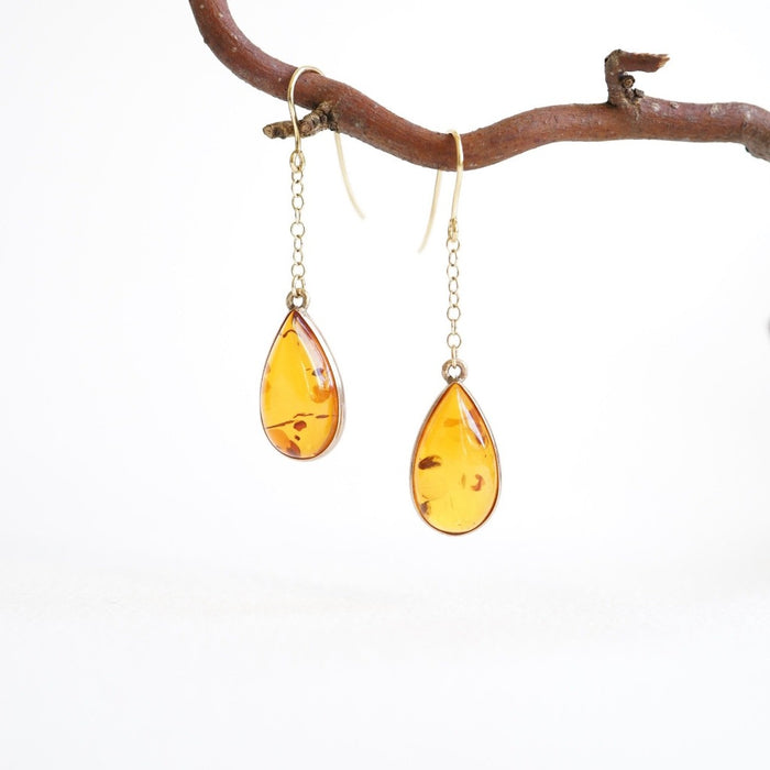 Amber Teardrop and Gold Drop Earrings
