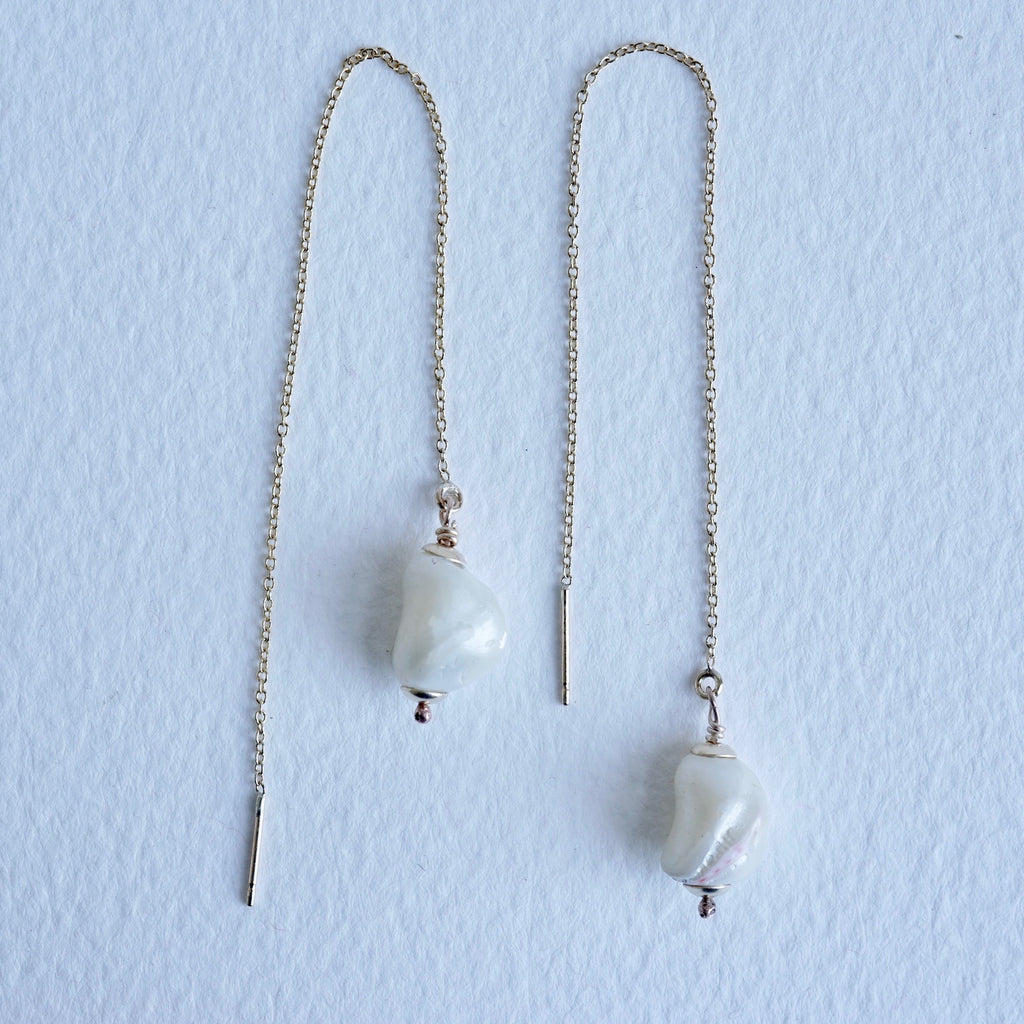 Baroque Pearl & gold Threader Earrings
