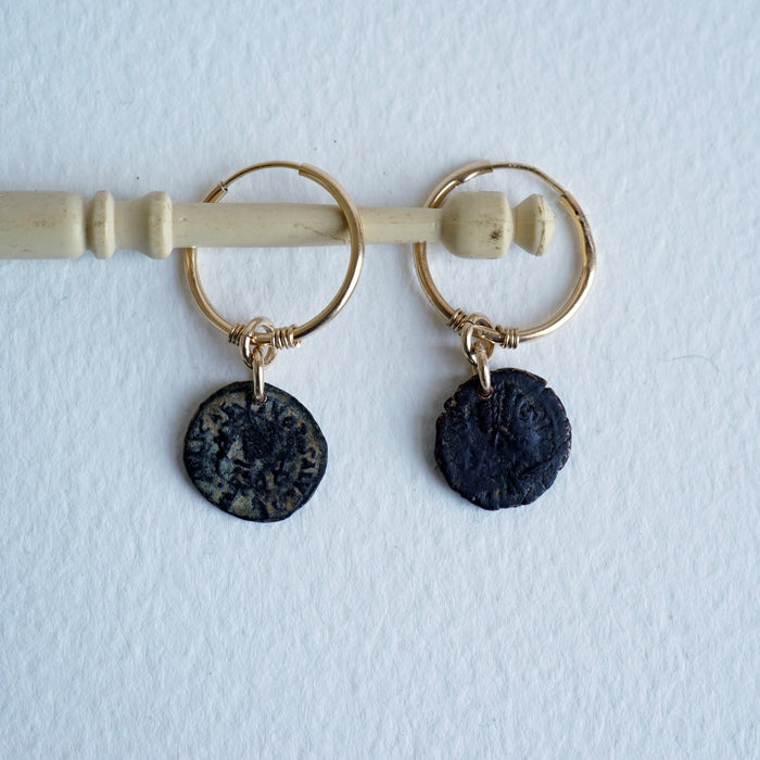 Badger's velvet 9ct Gold Hoop earrings with Roman coins.