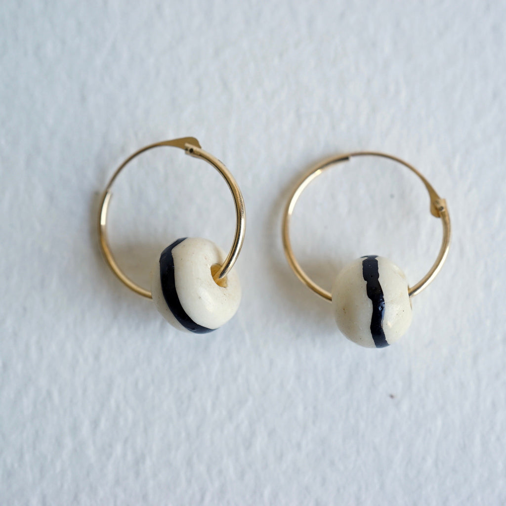 Gold Hoop Earrings With Vintage African Bone Beads