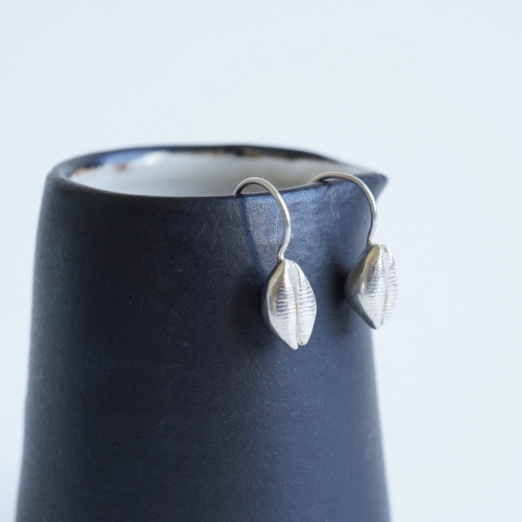 Silver Cowrie Shell Gold Earrings Badger's Velvet