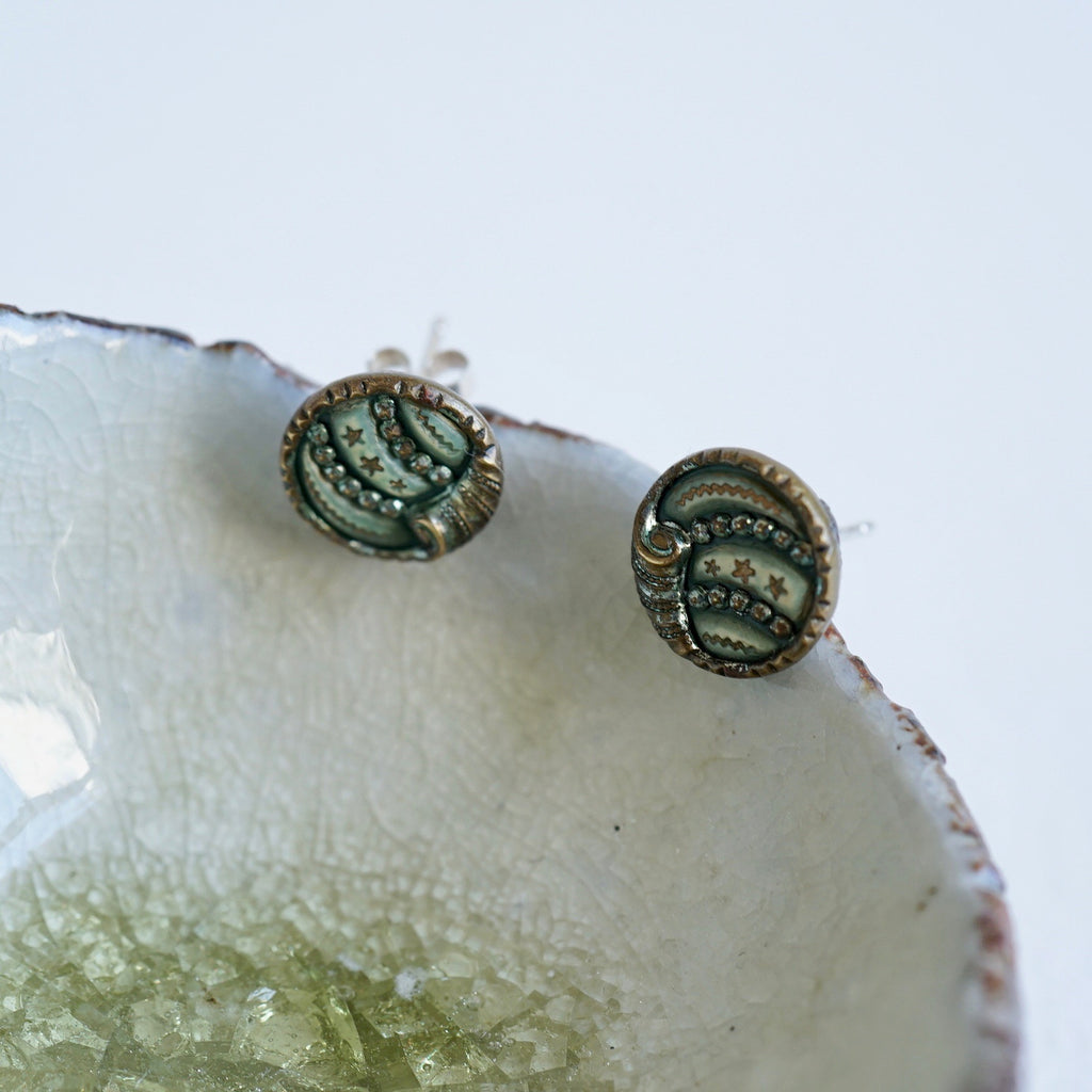 Vintage 1920s Button Silver Stud Earrings