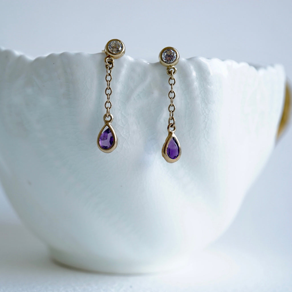 9ct Gold Amethyst & Zircon Earrings
