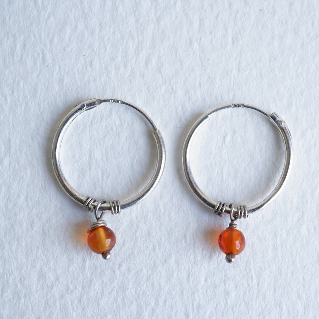 Badger's Velvet Silver 15mm Hoop Earrings with Vintage Indian Agate Beads.
