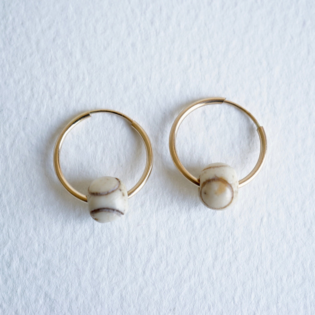 Gold Hoop Earrings With Carved African Bone Beads Badger's Velvet