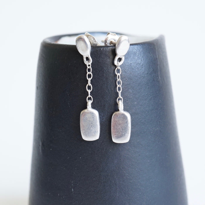 Modernist Silver Drop  Earrings