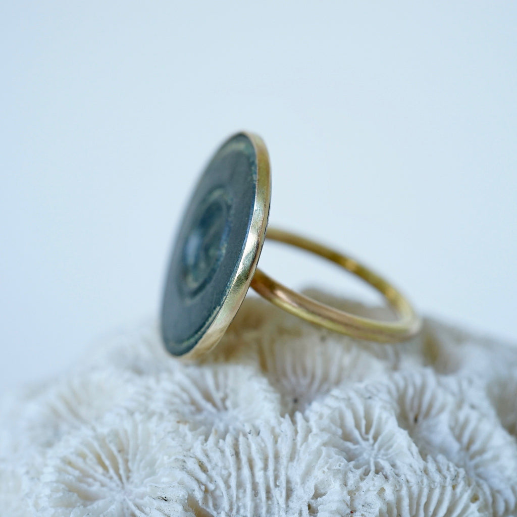 Badger's Velvet Large Gold and Bronze Bobbly Ring