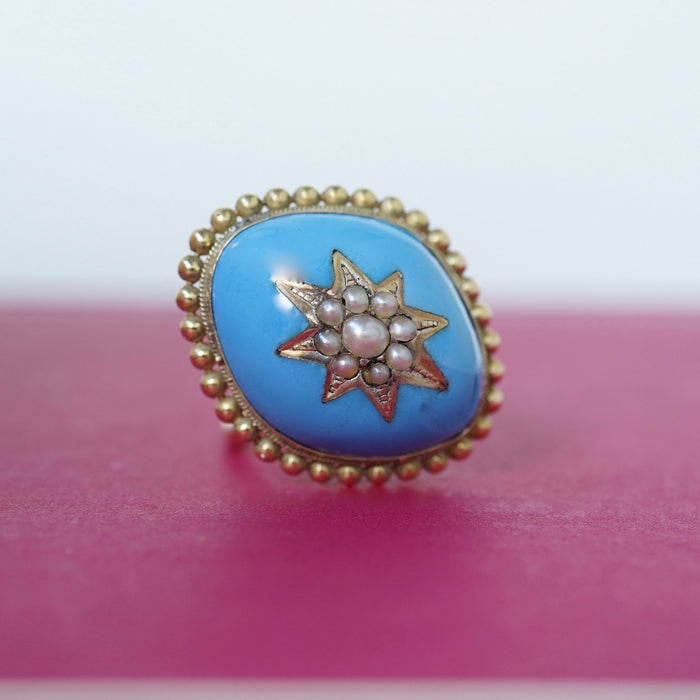 Gold Enamel and Seed Pearl Ring