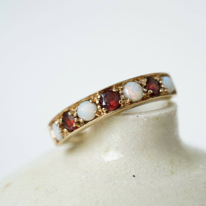 Antique Opal and Garnet Eternity Ring