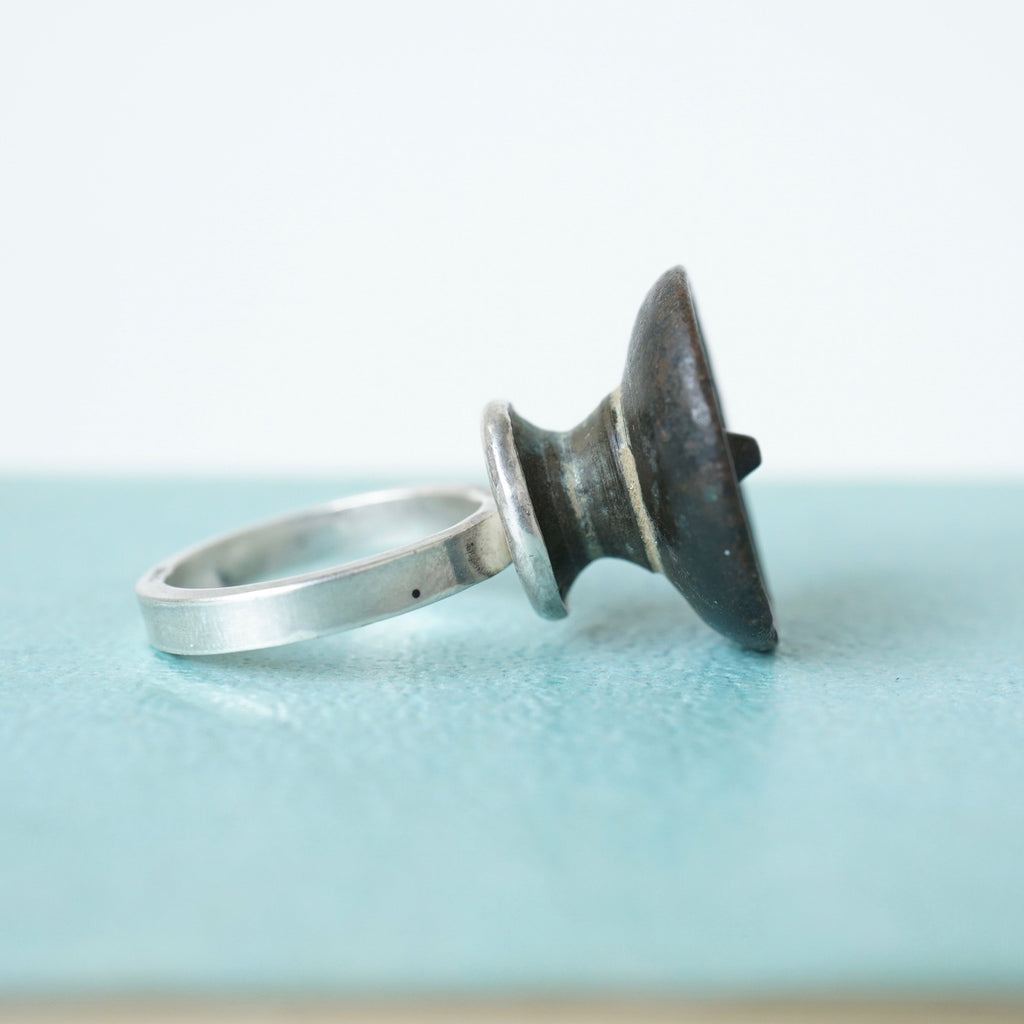 Antique Bronze Tall Ring