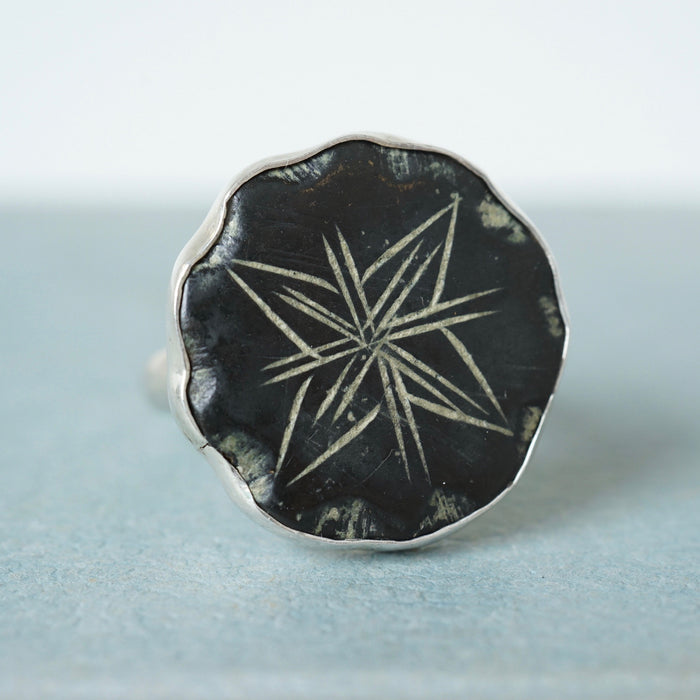 Silver and Bronze Large Star Ring