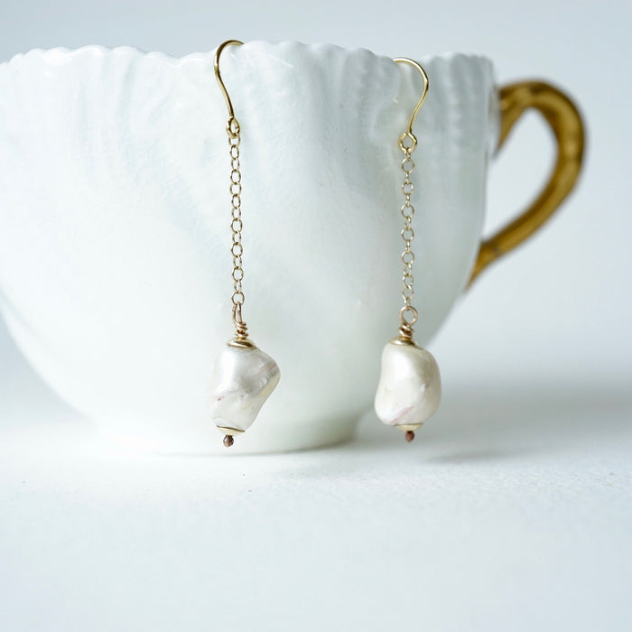 Baroque Pearl & Gold Chain and Roman Hook