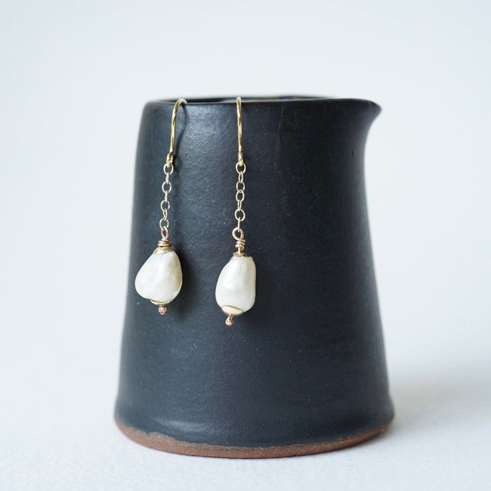 Baroque Pearl Gold Chain and Roman Hook Earrings