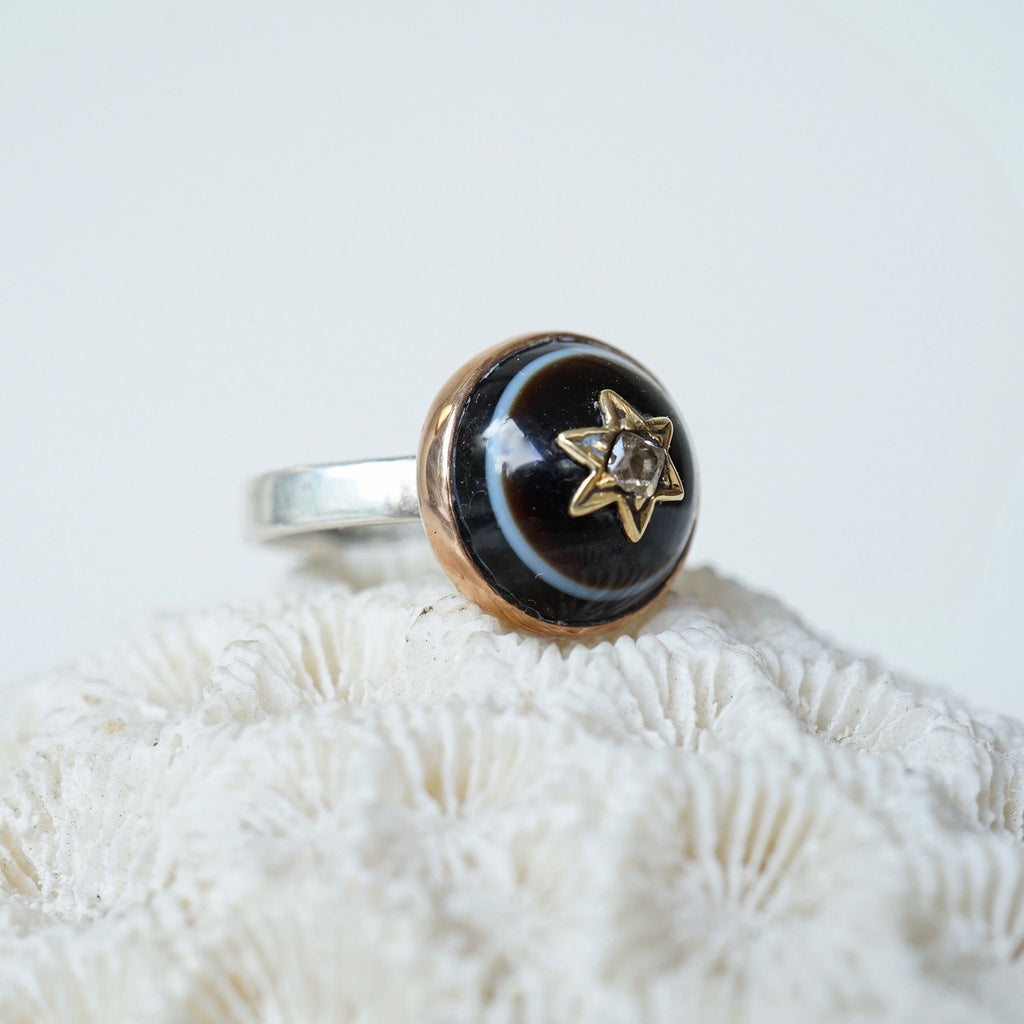 Gold Banded Agate and Diamond Ring