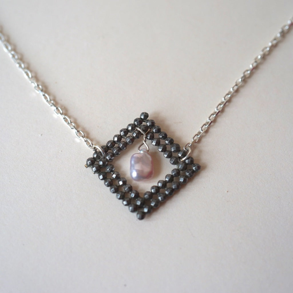 Georgian Cut Steel Diamond Eye Buckle and Pearl Silver Necklace.