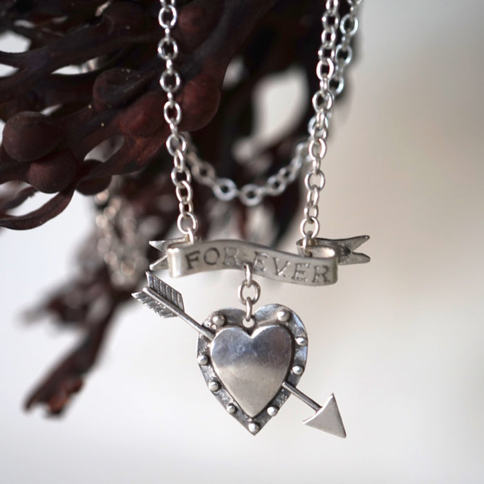 Silver Tattoo Forever Heart Necklace. Badgers Velvet