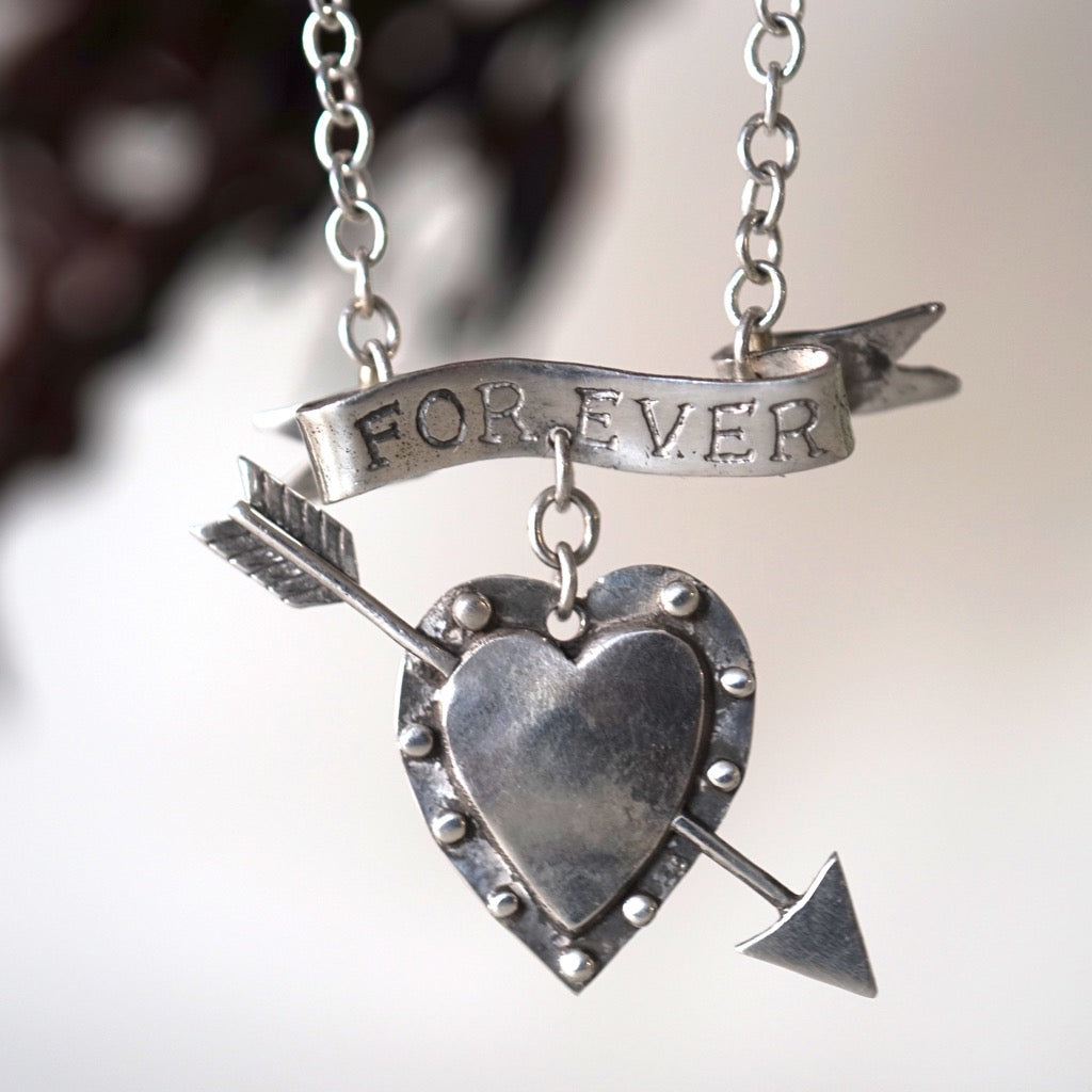 Handmade Unique Silver Forever Valentine Necklace