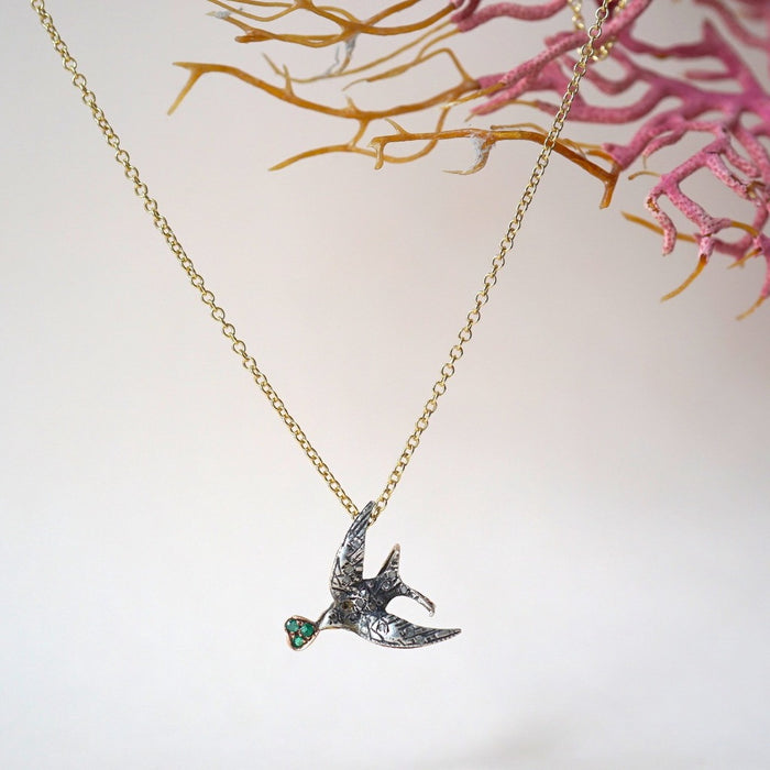 Gold Swallow Diamond and Emerald Pendant