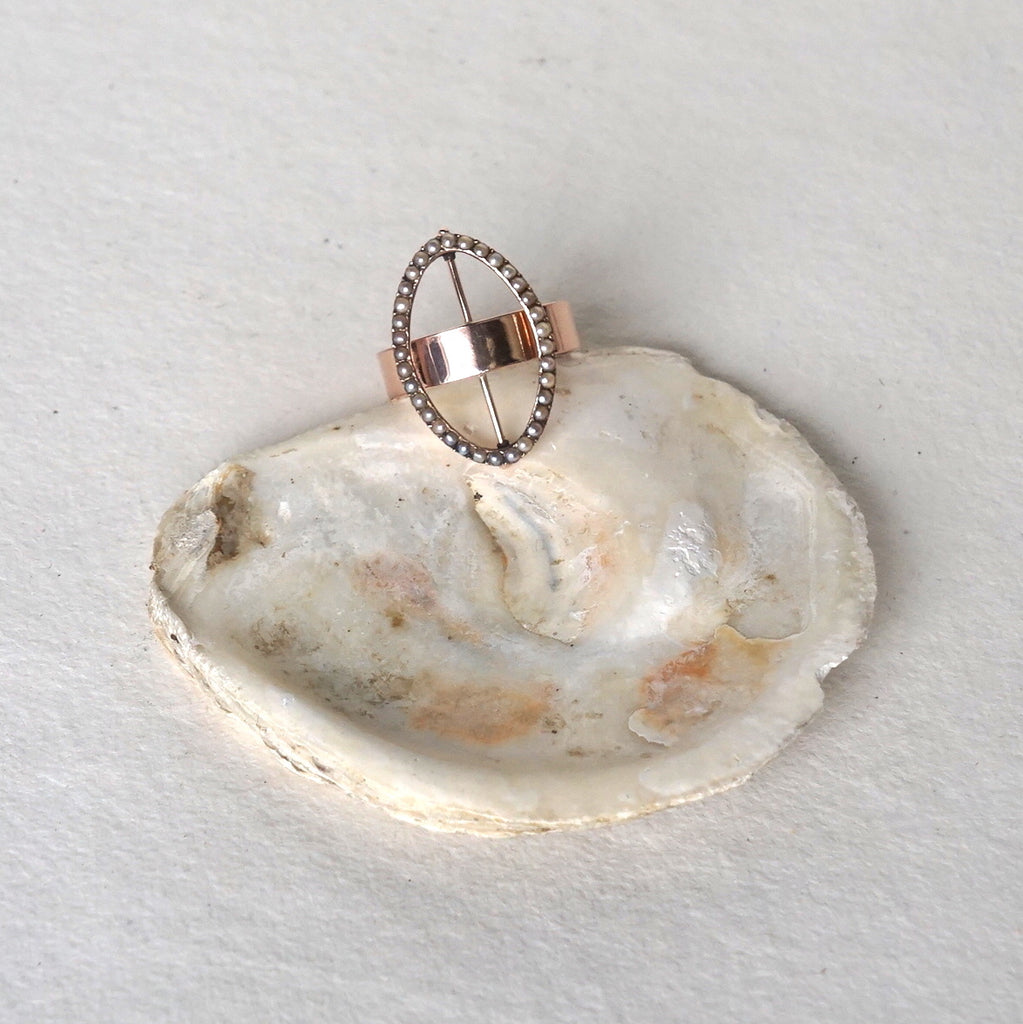 Victorian 18ct Gold & Seed Pearl Buckle Ring Badger's Velvet