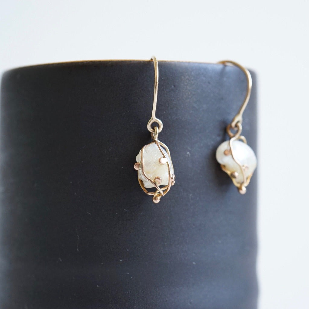 Antique Freshwater Pearls and Gold  Earrings.