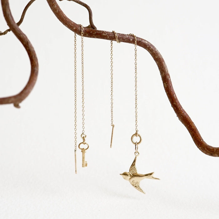 Swallow and Key Gold Threader Earrings
