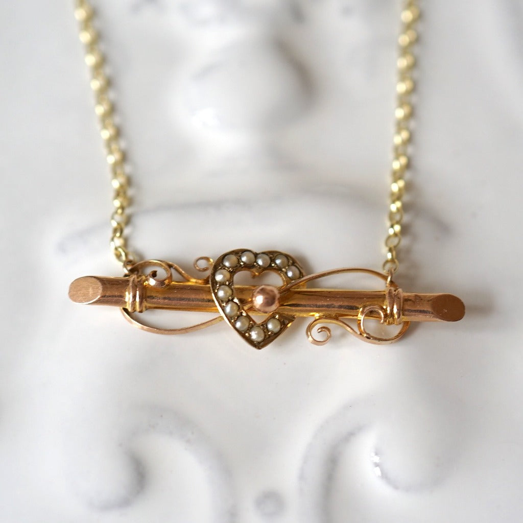 Antique 9ct Gold and Seed Pearl Heart Love Token Necklace