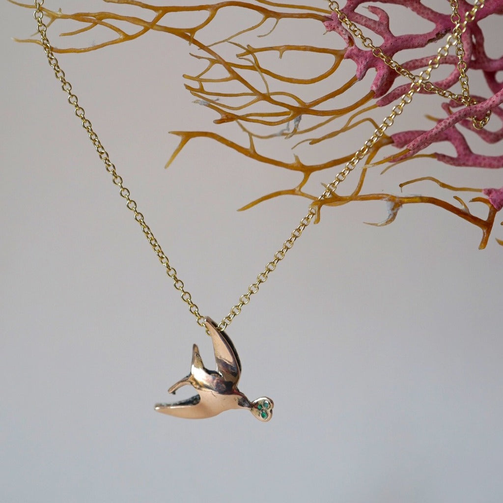 Gold Swallow Diamond and Emerald Pendant. Badger's Velvet