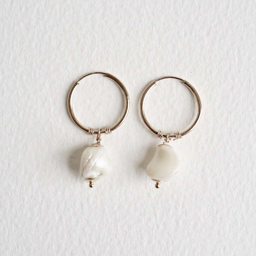 Gold and Baroque Pearl Creole Hoops