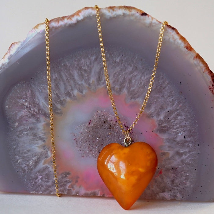 Vintage Amber Heart and Gold Heart Pendant. Badger's Velvet
