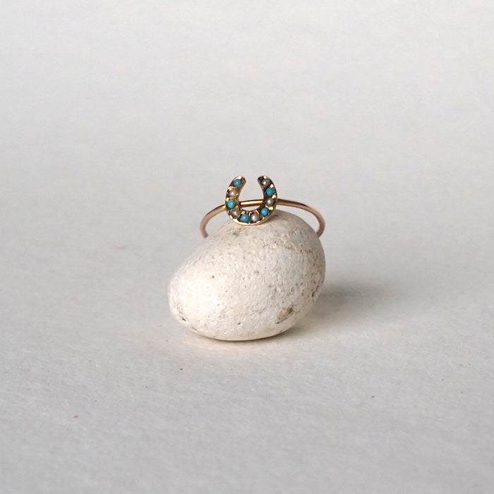 9ct Gold Lucky Horseshoe Ring with Seed pearls & Turquoise