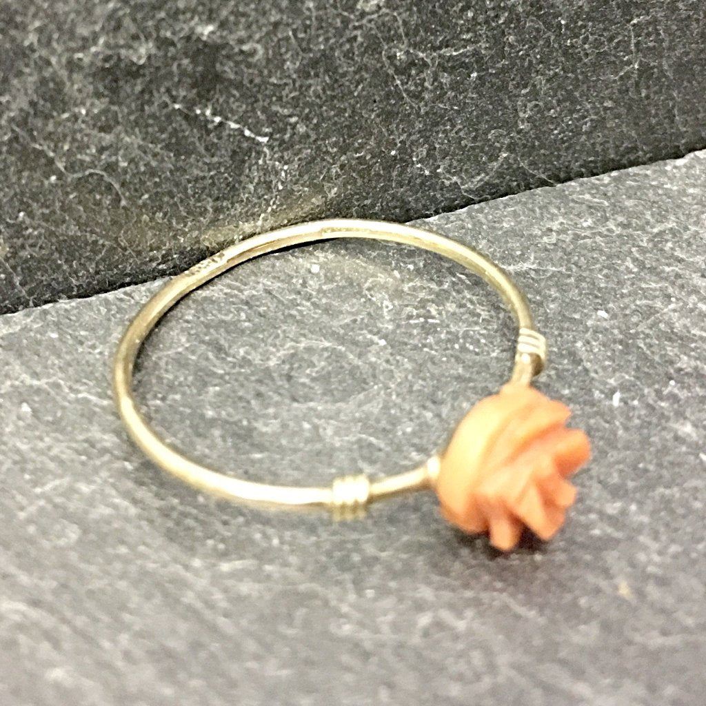 Gold & Coral ring, gold ring, unique ring, coral ring, Edwardian ring, badgers velvet
